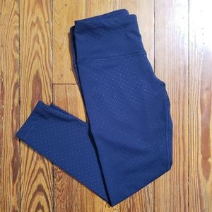 90 Degree navy blue crop polka dot leggings